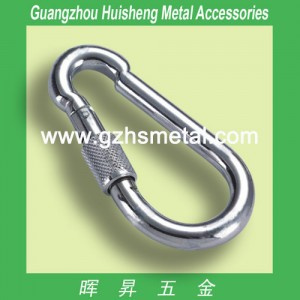 Aluminum Carabiner with Screw-Sliver Color
