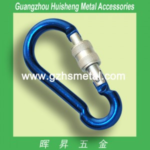 Aluminum Carabiner with Screw-Blue Color